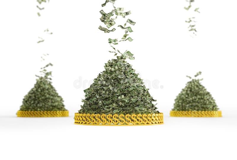 Money Rain. Pile of Cash - ing down royalty free stock image
