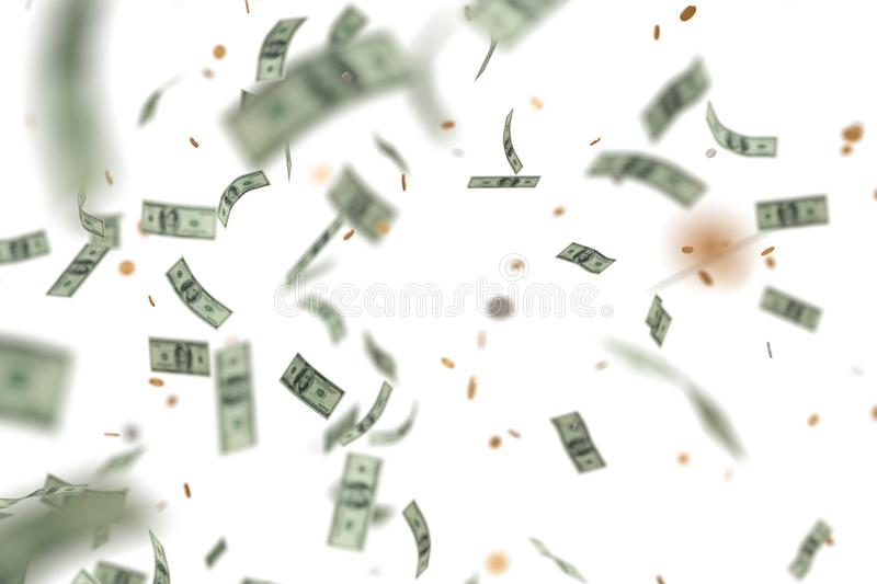 Money raining and falling down. Isolated on white background. 3D rendered illustration.  stock illustration