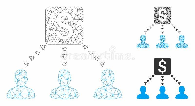 Money Recipients Vector Mesh Carcass Model and Triangle Mosaic Icon. Mesh money recipients model with triangle mosaic icon. Wire carcass polygonal mesh of money vector illustration