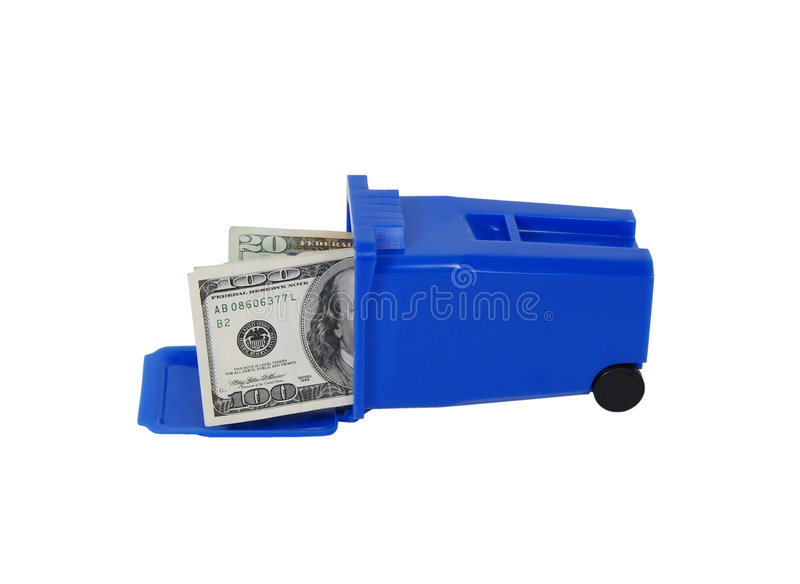 Money and Recycling bin stock photography
