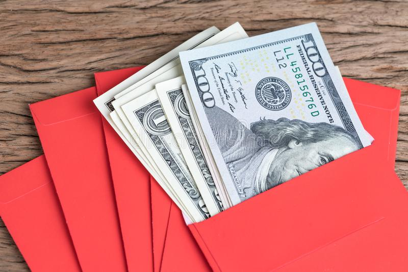 Money in red envelopes Chinese new year greeting gift, closed up royalty free stock photography