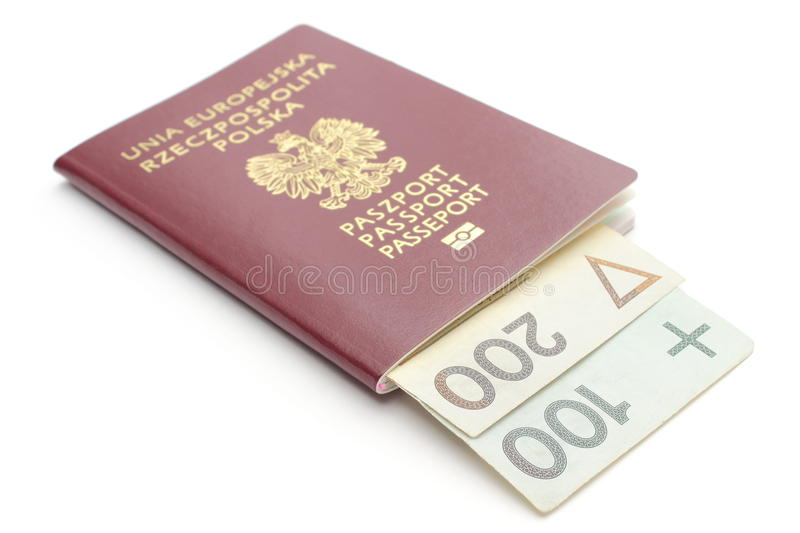 Download Money And Red, Polish Passport On White Background Stock Photo - Image: 33985632