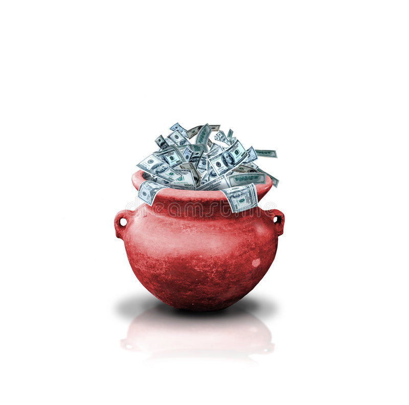 Money in red pot stock image