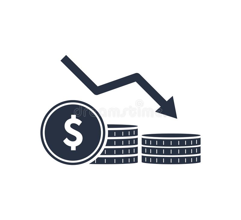 Money reduction line icon. Stacks of coins, cash, graph, arrow down. Investment concept. Vector illustration vector illustration