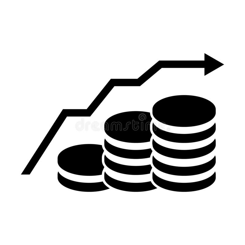 Money reduction vector icon. Stacks of coins illustration symbol. Investment concept logo. For web or mobile vector illustration