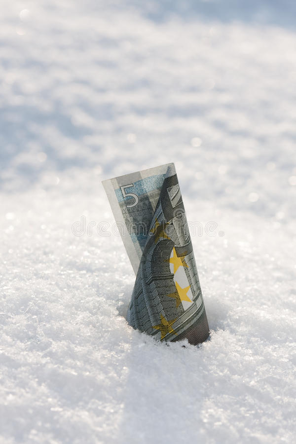 Money rise. Euro banknote royalty free stock photo