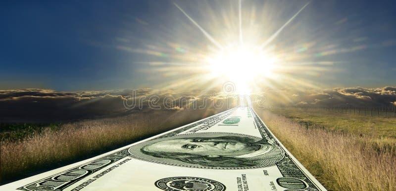 Money road to success. Sunrise panorama. stock photography