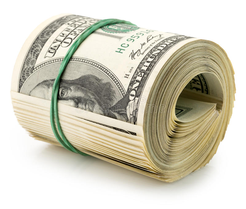 Money roll dollars isolated on the white background stock photography