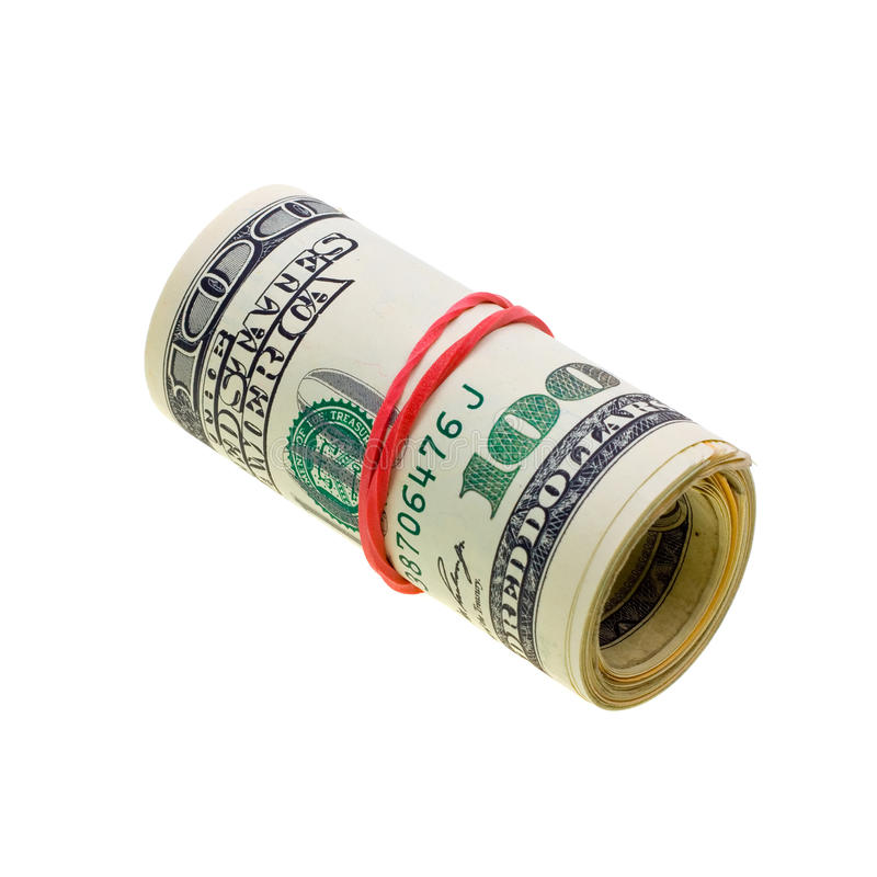 Money Roll With US Dollars Bills Isolated On White Stock ...