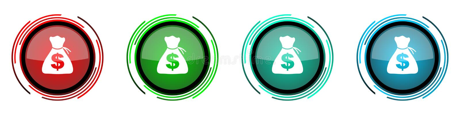 Money round glossy vector icons, set of buttons for webdesign, internet and mobile phone applications in four colors options. Isolated on white vector illustration