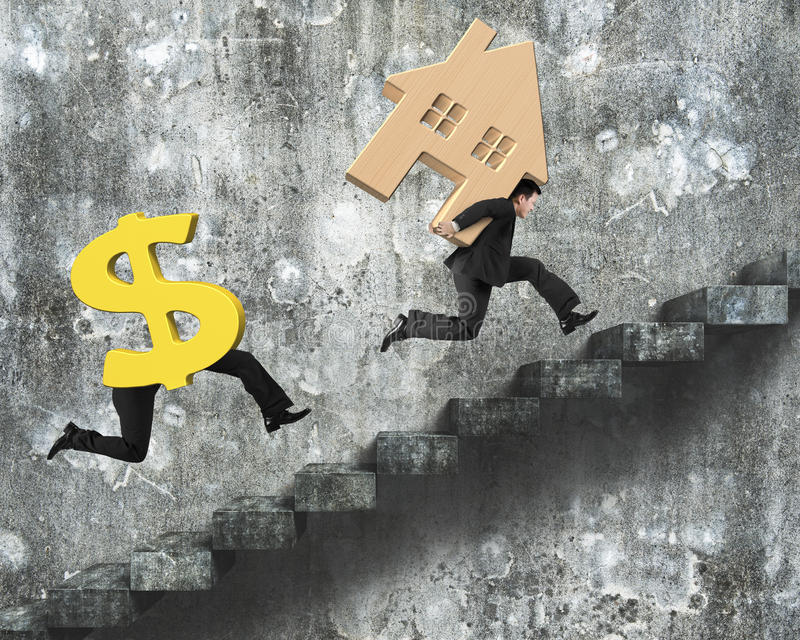 Money running after man carrying house on concrete stairs. Money with human legs running after man carrying house on old dirty concrete stairs royalty free stock photography