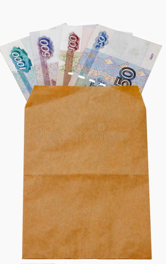 Money of Russia in paper envelop stock photography