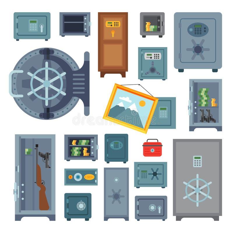 Money safe steel vault door finance business concept safety business box cash secure protection deposit vector vector illustration