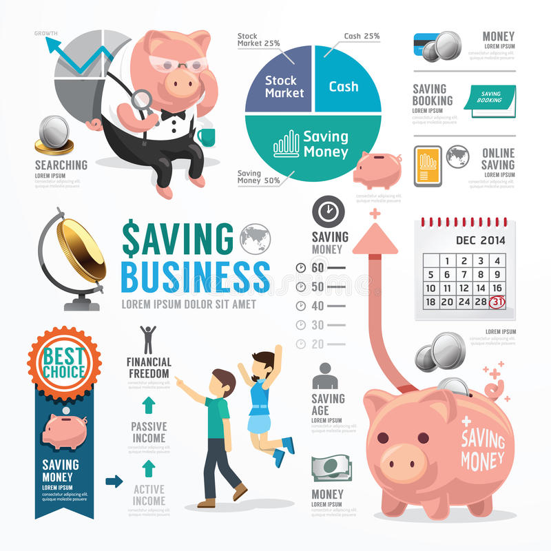 Free Money Saving Business Template Design Infographic . Concept Royalty Free Stock Image - 44347996