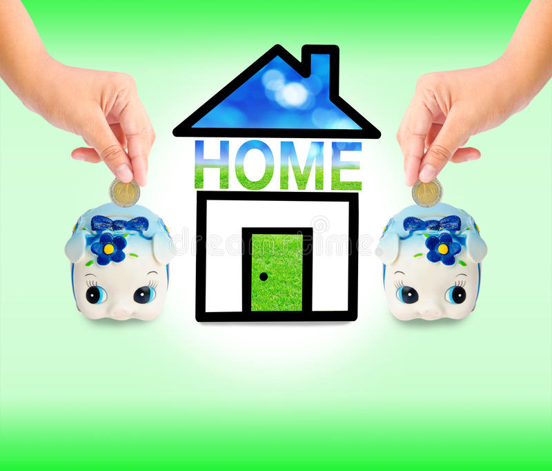Money Saving with Piggy bank and home icon. Saving money for home concept stock photo