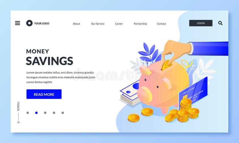 Money savings business concept. Vector 3d isometric illustration. Human hand putting money to piggybank, banner design stock illustration