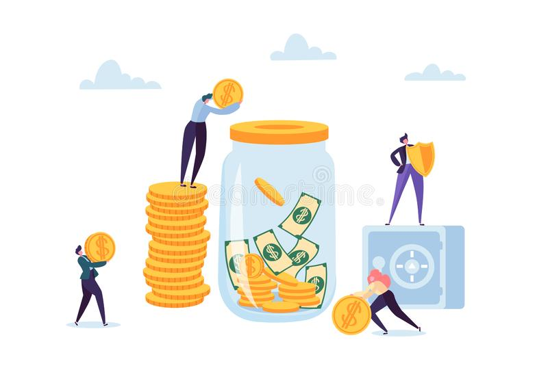 Money Savings Concept. Business People Characters Investing Money on Bank Account. Moneybox, Safe Deposit, Banking. Vector illustration royalty free illustration