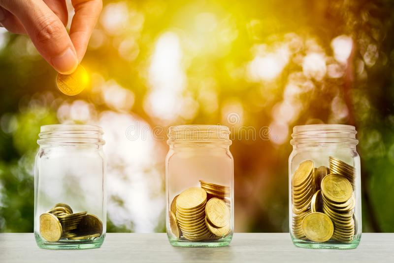 Money savings, investment, making money for future, financial wealth management concept. Hand holding coin over stacked coins in. Glass jar and growing plant royalty free stock photography