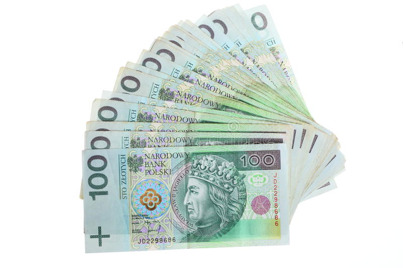 Money and savings. Stack of 100's polish zloty banknotes. Money and savings concept. Stack of 100's polish zloty banknotes currency isolated on white stock photography