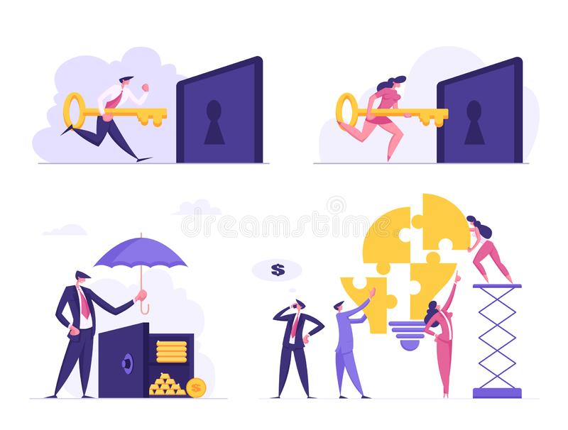 Money Savings, Teamwork, Business Solution, Creative Idea Set. Businesspeople Put Key to Lock Hole, Cover Safe stock illustration