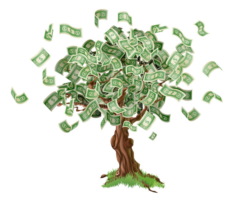 Money savings tree. Business or savings concept of a money tree with growing dollar bills or other money