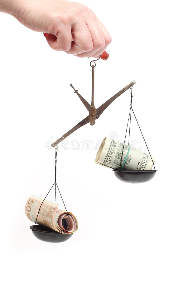 Money on scales unbalanced
