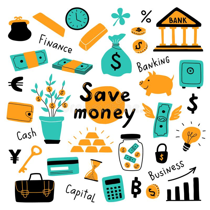 Money set, business symbols and financial elements. Funny doodle hand drawn vector illustration. Cute cartoon banking collection. stock illustration