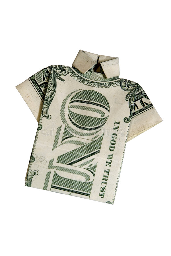 Money Shirt with clipping path. Origami dollar bill shirt with cut-out background royalty free stock photos