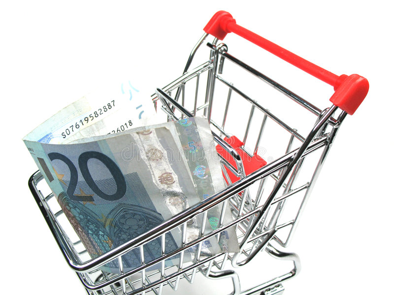 Money in a shopping cart royalty free stock photo