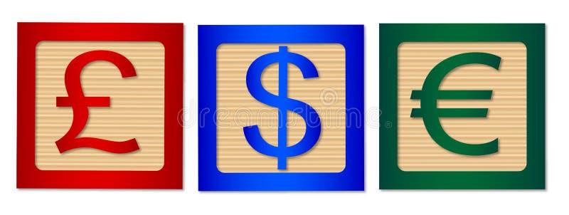 Money SIgns On Isolated Wood Blocks vector illustration