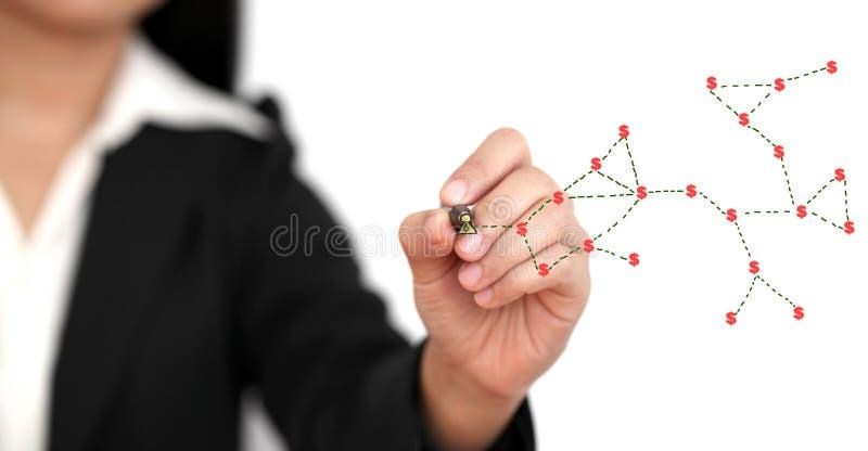 Money social network concept. Asian business woman making money from social network concept stock photos