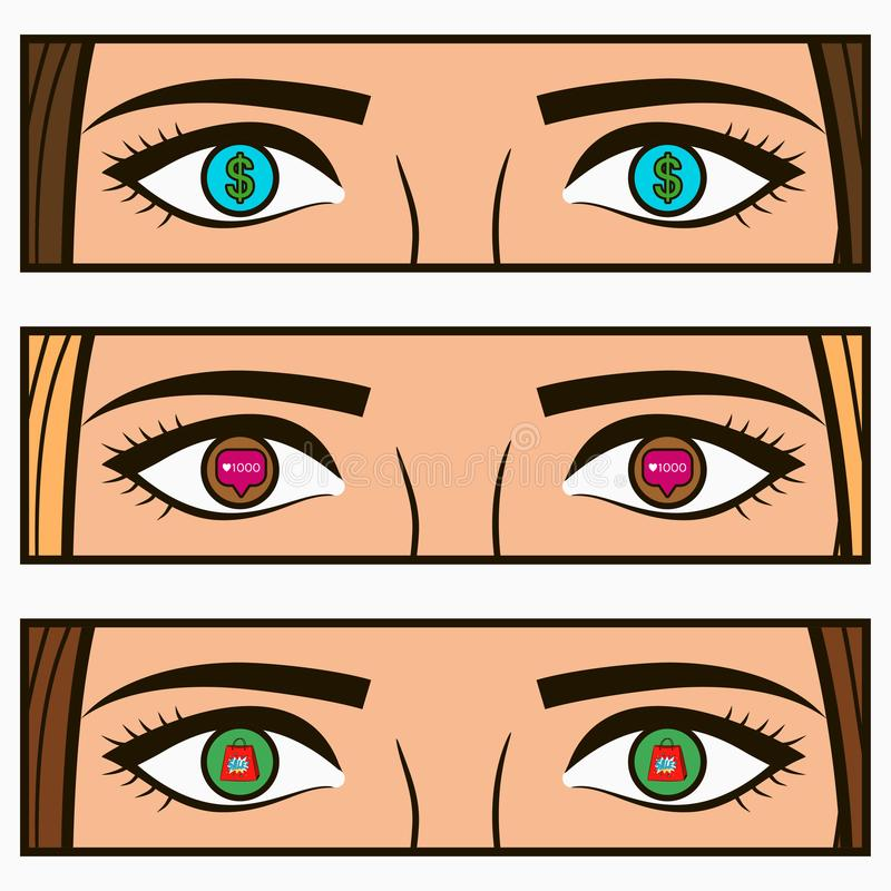 Money, social network icon - follow and sale signs in female eyes. Comic pop-art illustration with girl interests in her eye. vector illustration