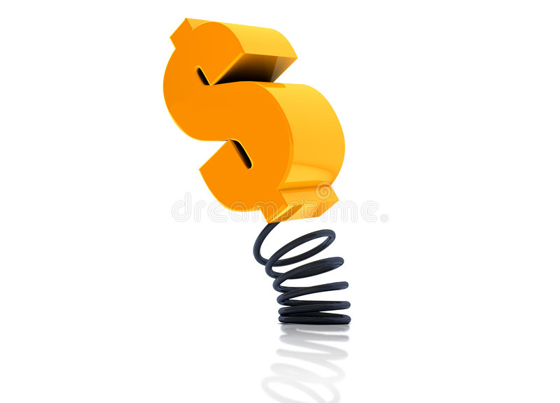 Money spring coil. Money in spring coil represent the currency is not stable royalty free illustration