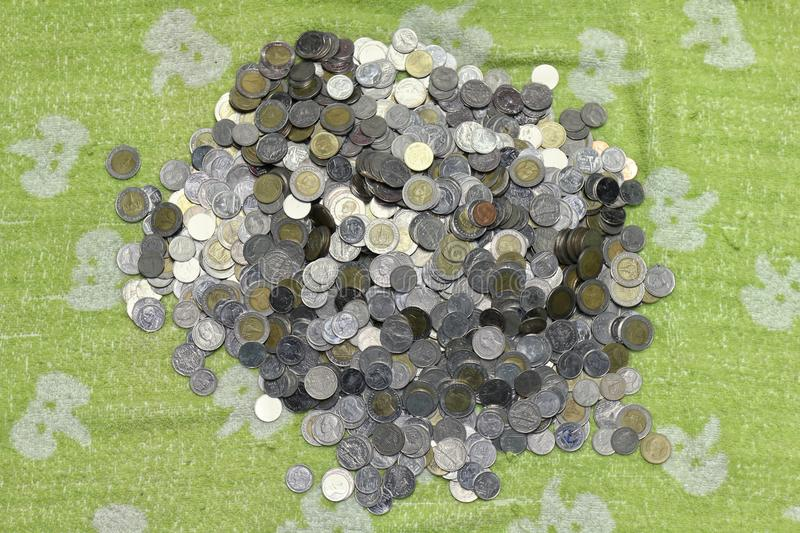 Stack Money of Baht Thailand coins stock photo