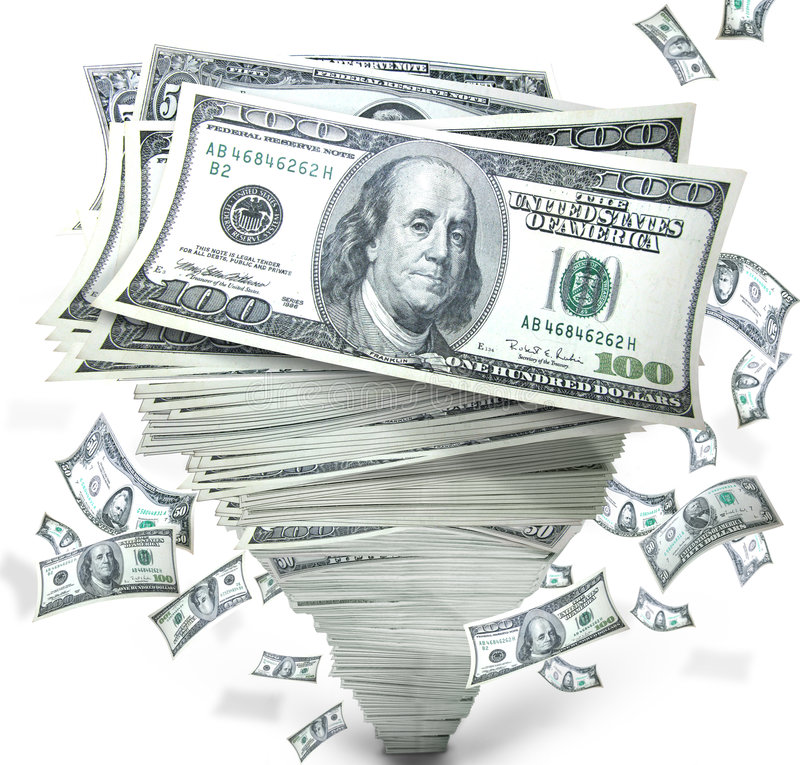 Money In Stack Of Cash Stock Photo