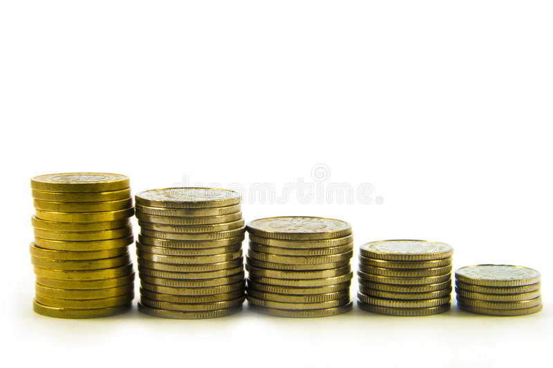 Money, stack of coins on white background. Saving money concept. Confidence in the future. Bankruptcy.  royalty free stock image