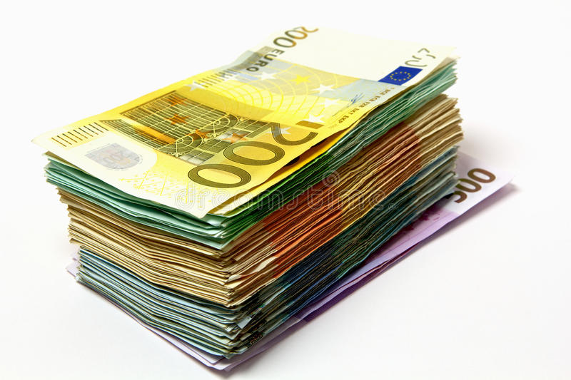 Money stack. A stack of euro bank notes. The stack consists of 200 100 50 20 and 500 Euro banknotes stock photos
