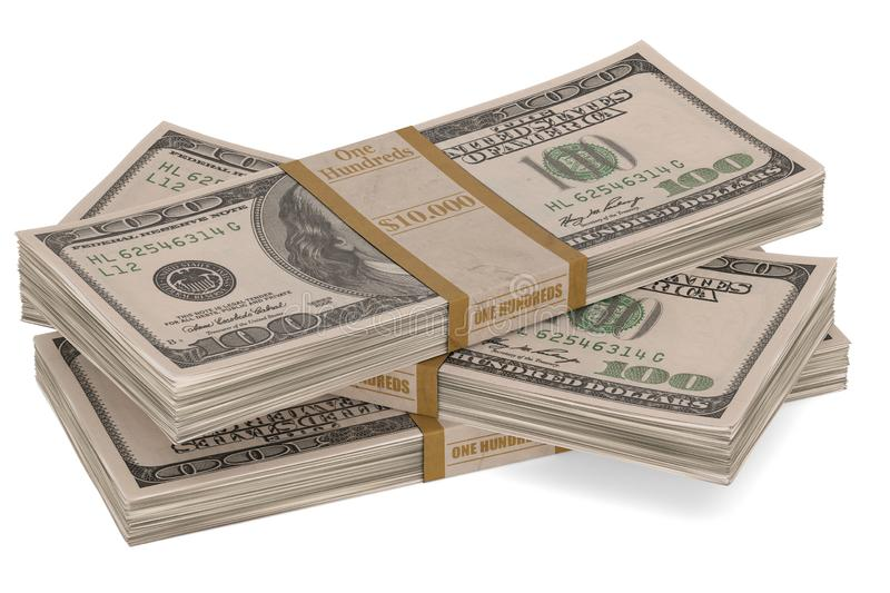 Money stack isolated on white background 3D illustration. Money stack isolated on white background 3D illustration stock illustration