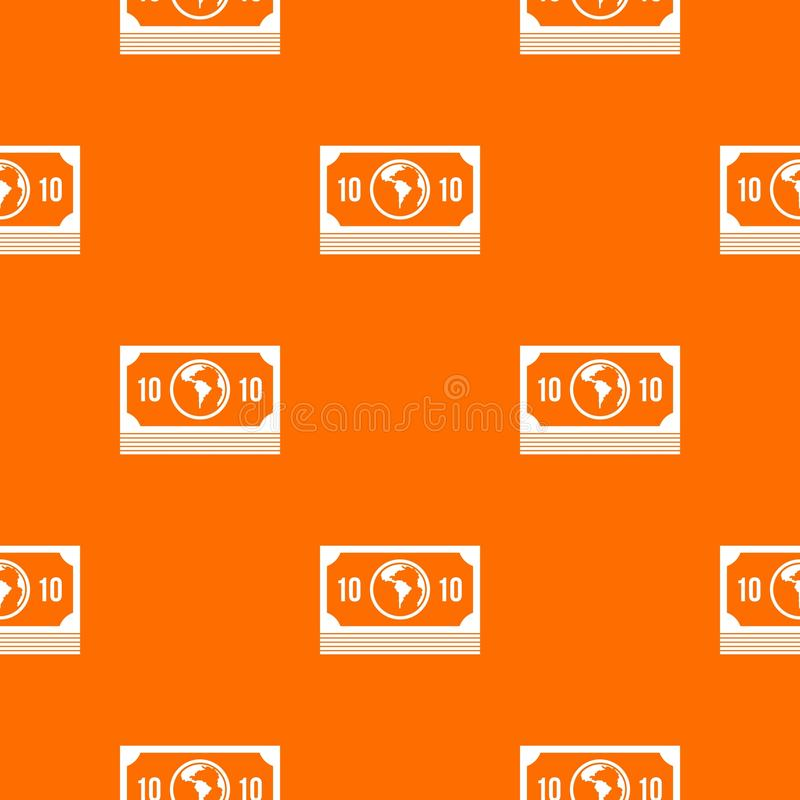 Money stack pattern seamless. Money stack pattern repeat seamless in orange color for any design. Vector geometric illustration royalty free illustration