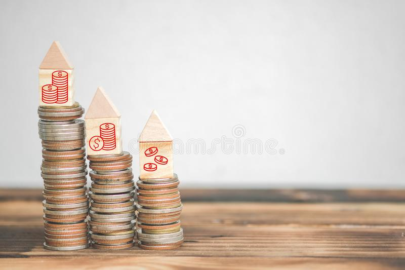 Money stack step up growing growth saving money with business strategy symbols, ideas about saving money for future use stock images