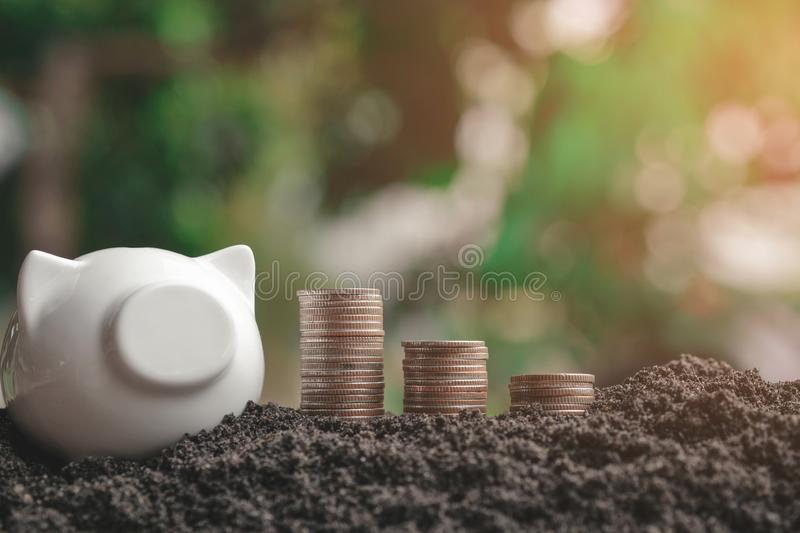 Money stack step up growing growth saving money with icons about business strategy on image royalty free stock photo
