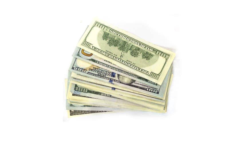 Money stack on white background. Dollars royalty free stock photos