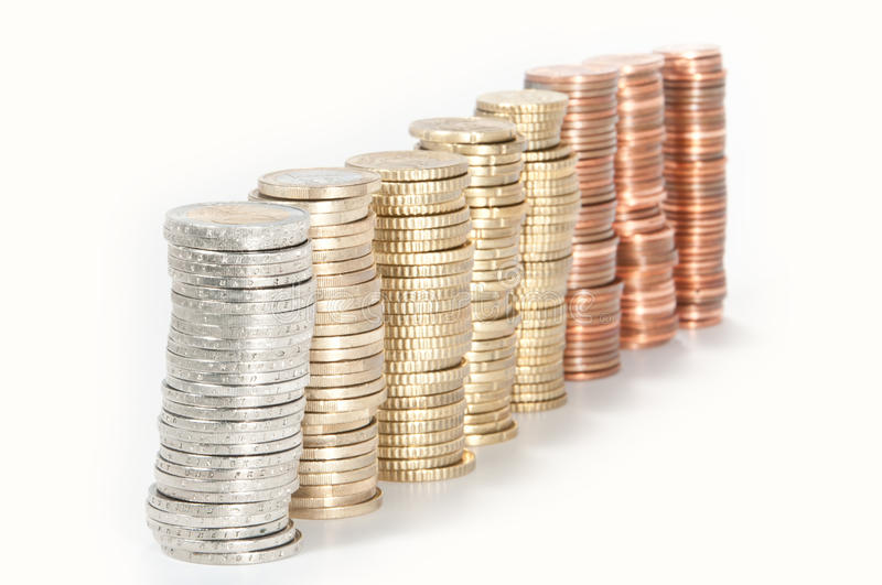 Money stacks (2 Euro to 1 Cent) royalty free stock image
