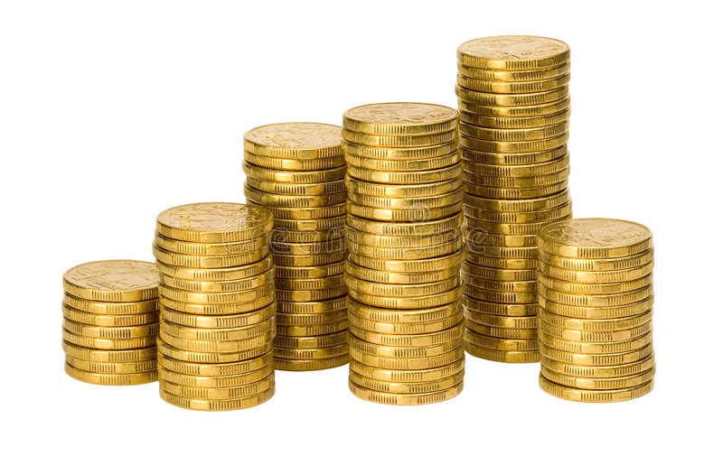 Money Stacks of Australian Coins. Stacks of Australian one dollar coins royalty free stock photo