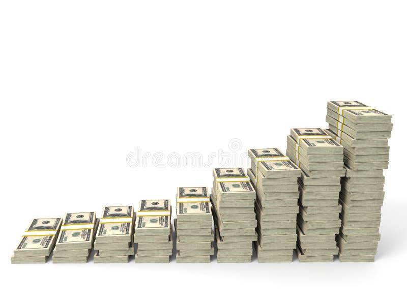 Money stacks graph. One hundred dollars. 3D illustration vector illustration