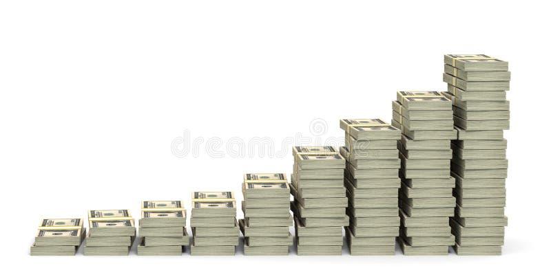 Money stacks graph. One hundred dollars. 3D illustration stock illustration