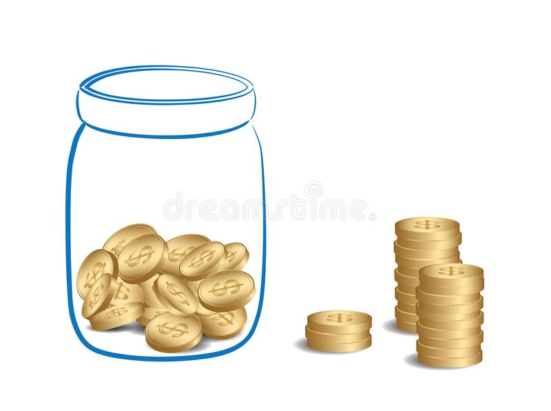 Money stacks and jar with coins - vector fundraising. Money stacks and jar with coins - vector illustration of fundraising royalty free illustration