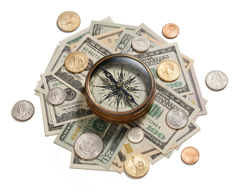 Money Strategy Management Compass. A compass on American money isolated on white stock image