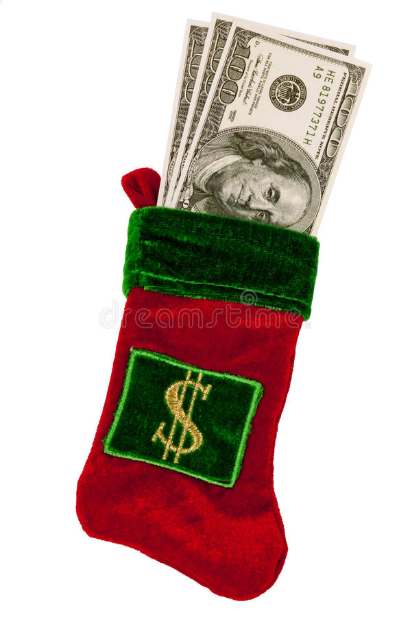 Download Money Stuffed In A Christmas Stocking Stock Photo - Image: 27220798