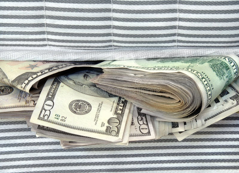 Download Money Stuffed In Between The Mattresses Stock Image - Image of cash, hundred: 7053887